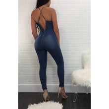 Load image into Gallery viewer, Blue Jeans Jumpsuit w/Deep V and Embroidery Front