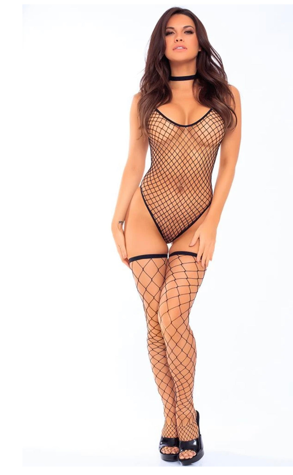 Three Piece Fishnet Bodysuit Set