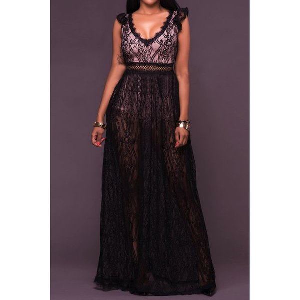 Full Lace Black Maxi Dress
