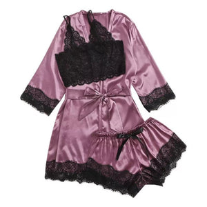 'Satin' Robe Pajama Set
