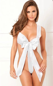White Satin Bow Teddy