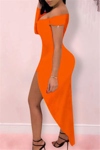 Stretch Dress with V Collar & One Sleeve