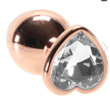 Load image into Gallery viewer, Medium Aluminum Plug w/Clear Heart Gem in Rose Gold