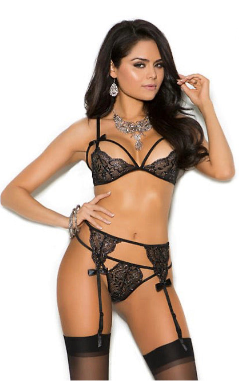 Bra, Garter Belt And G-String Lingerie
