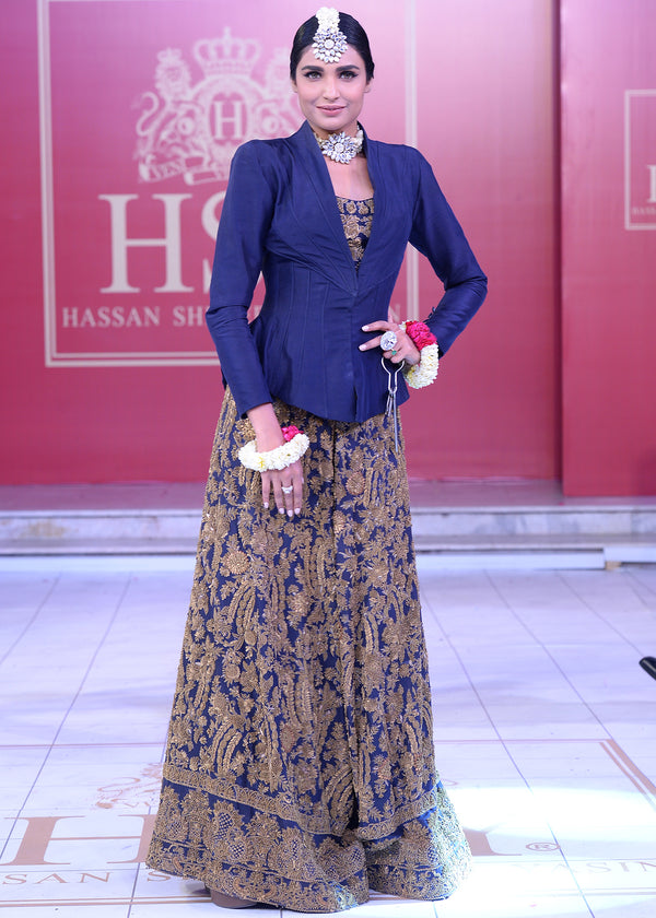 Navy Blue Shararah