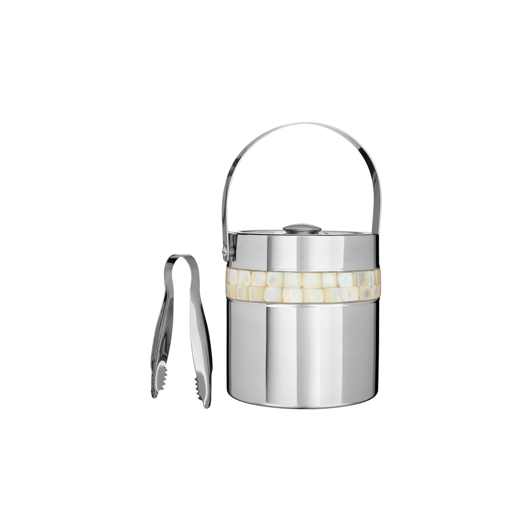Mother of Pearl Ice Bucket and Tongs