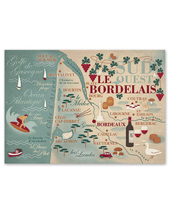 Affiche - Carte du Bordelais
