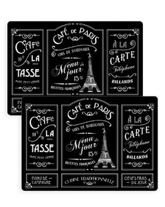 Set de table - Café de Paris noir