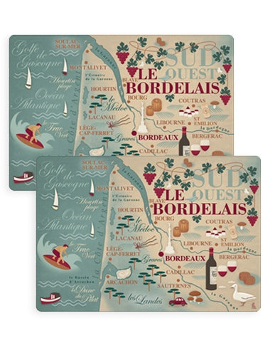 Set de table - Bordelais carte du Sud Ouest