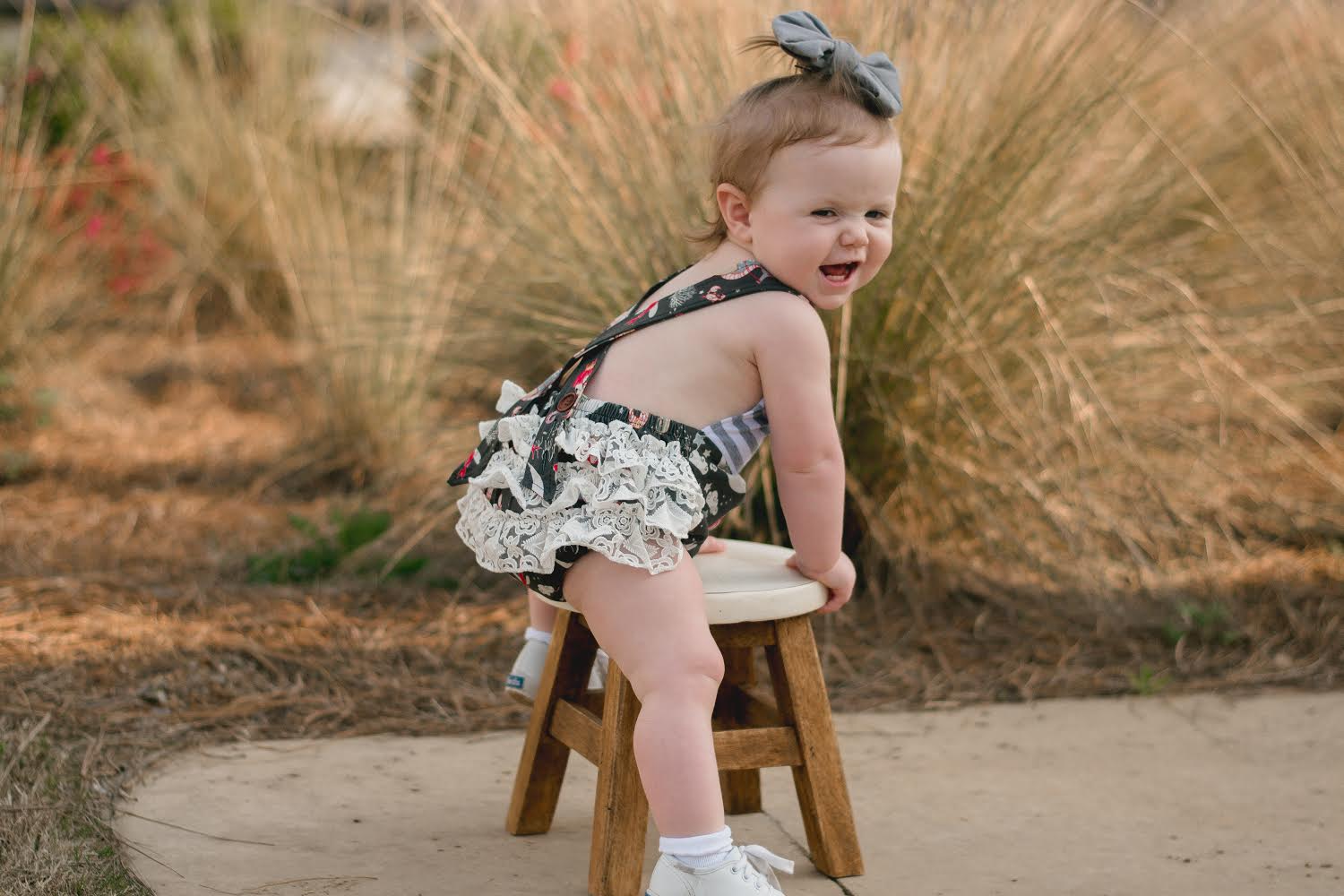 Baby Girl White Floral Print Tassels Romper with Headband