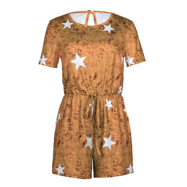 Solid Color Star Print Lace Up Shorts Jumpsuit