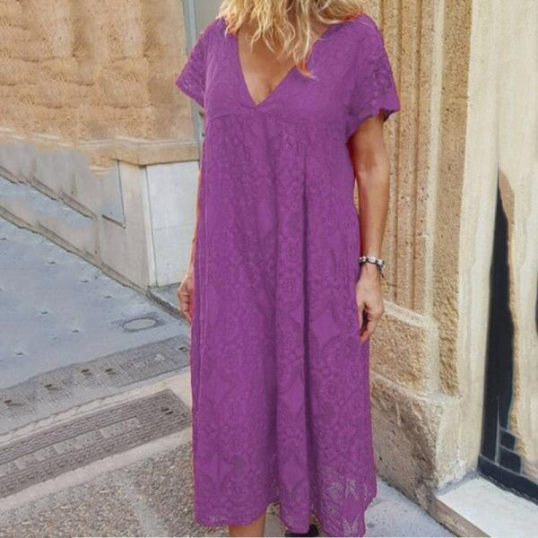 Casual Loose V-Neck Solid Color Dress