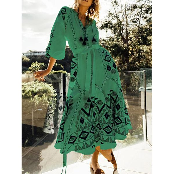 Long Sleeve V Neck Printed  Floral Elegant Casual Dress