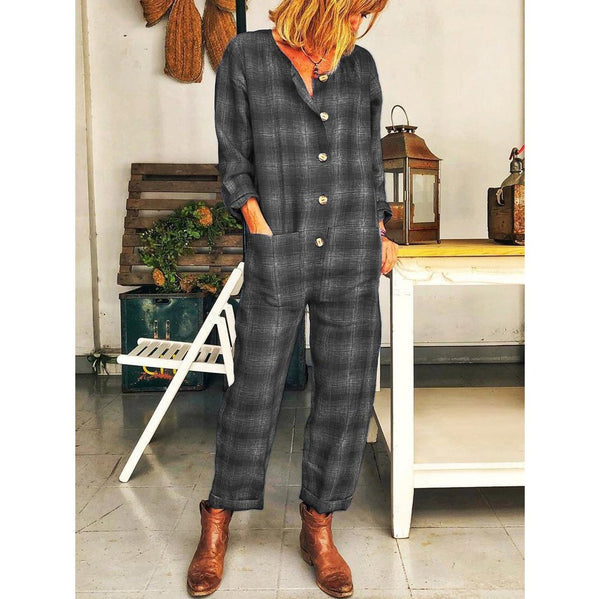 Plus Size Casual Plaid Long Sleeve Jumpsuit