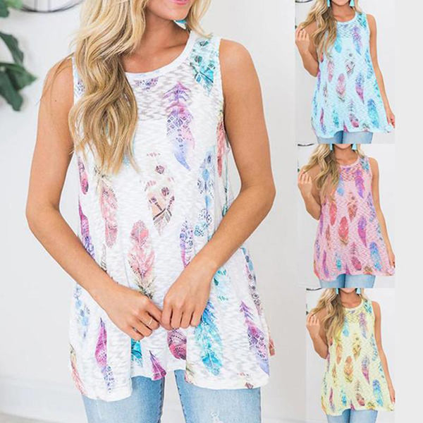 Plus Size Daily Printed Sleeveless Blouse