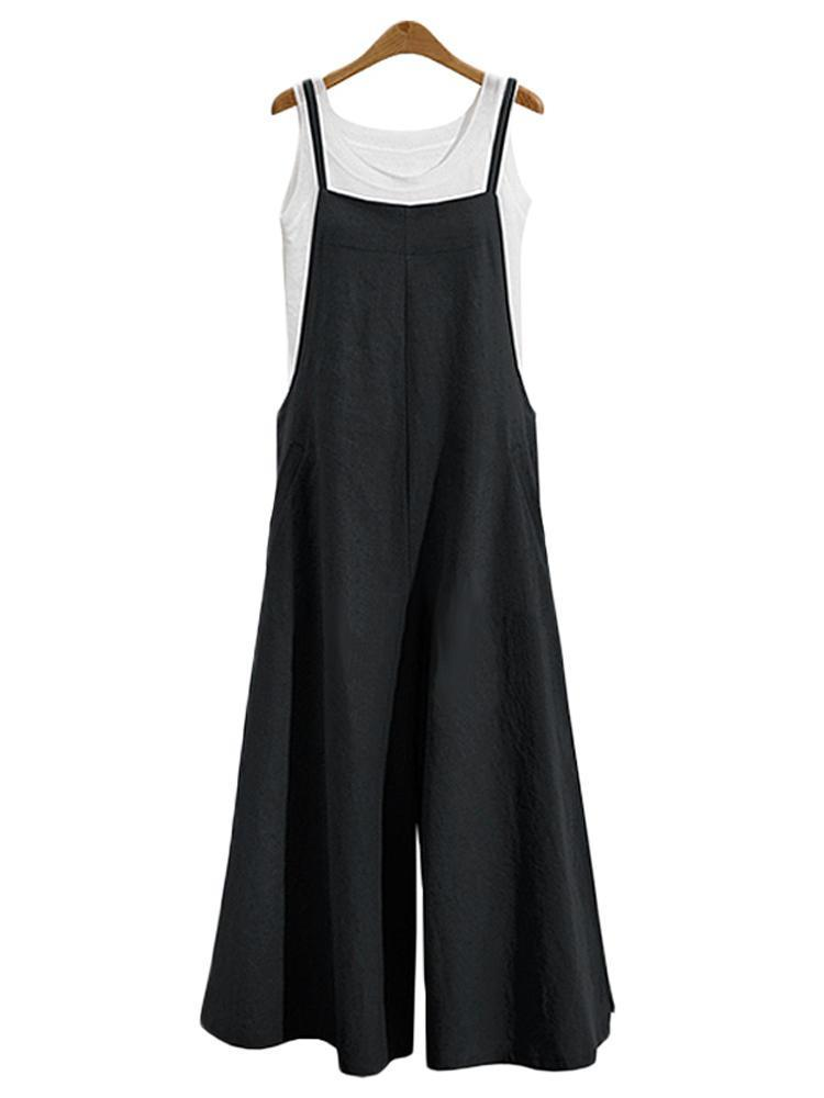 Women Casual Loose Solid Tank Jumpsuit