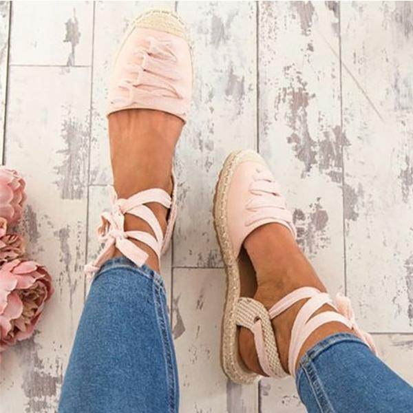 Women Bandage Shoes Ankle Strap Casual Espadrille Sandals