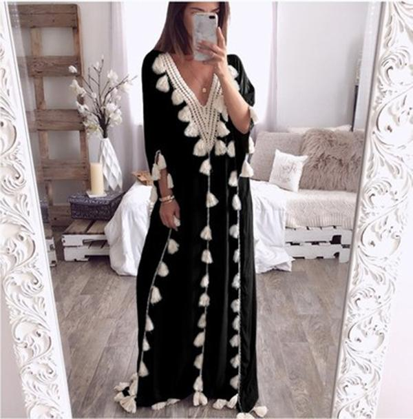 V Neck Tassels Bohemian Long Dresses