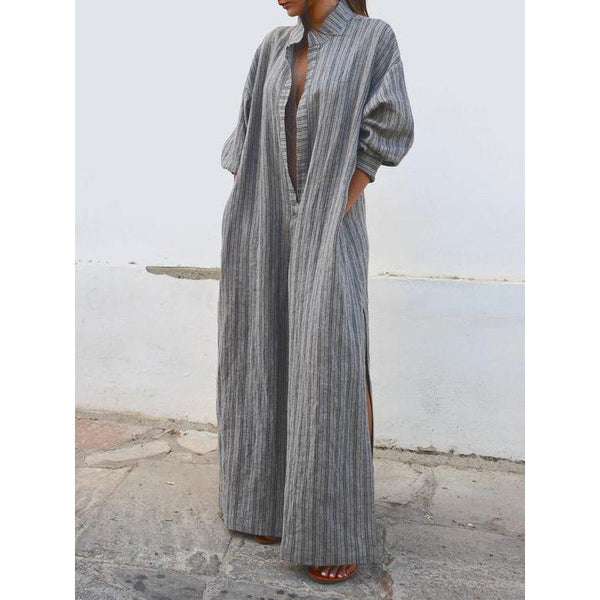 Gray Swing Balloon Sleeve Striped Casual Maxi Plus Size Dress