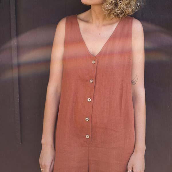 Solid Color V Neck Button Sleeveless Jumpsuits