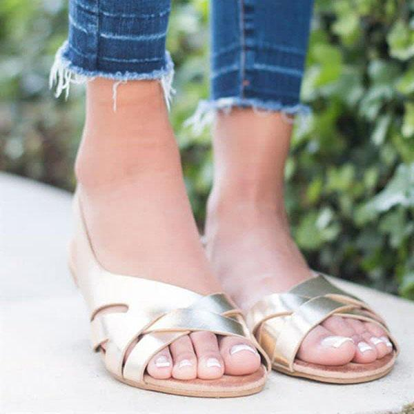 Summer Solid Color Flat Sandals