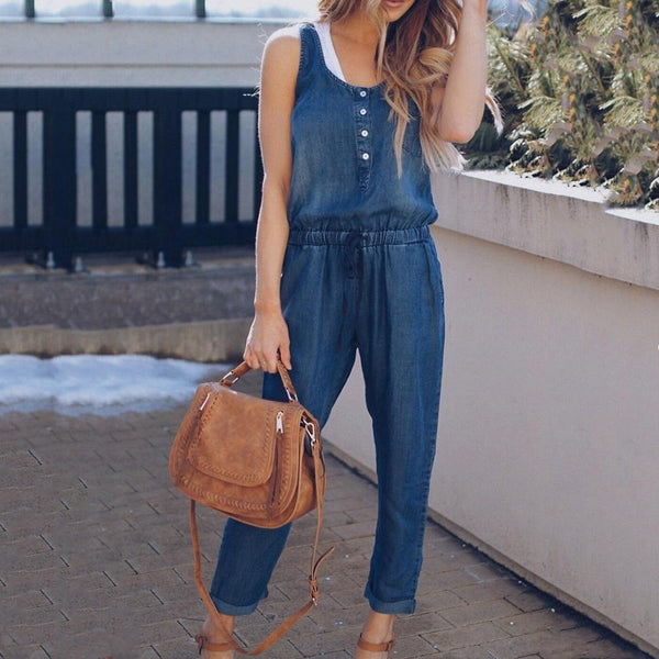 Fashion Denim Sleeveless Jumpsuit