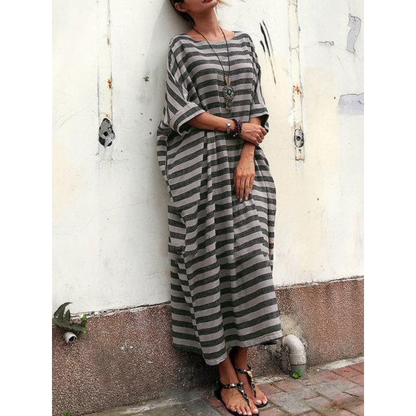 525f223a7d0f ... Cocoon Women Daily Casual 3/4 Sleeve Pockets Striped Summer Dress ...
