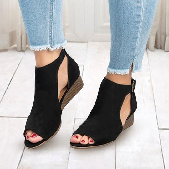 Women Ankle Large Size Strap Peep Toe Wedge Sandals