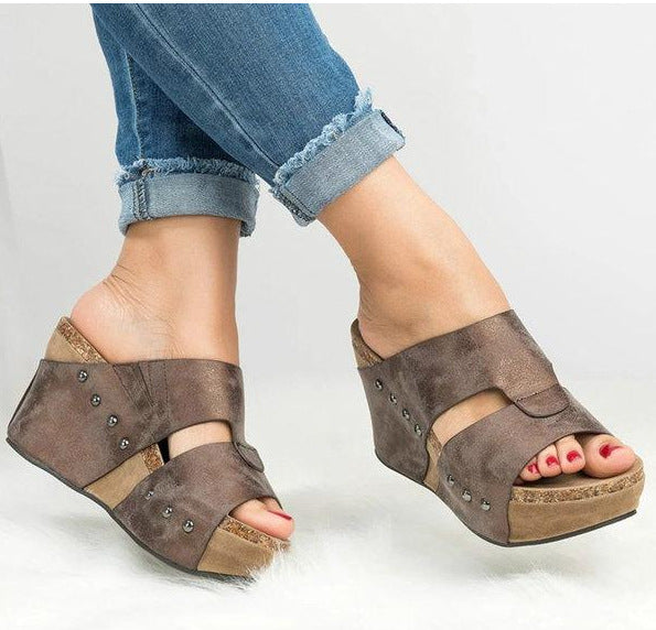 Women Plus Size Wedge Slipper