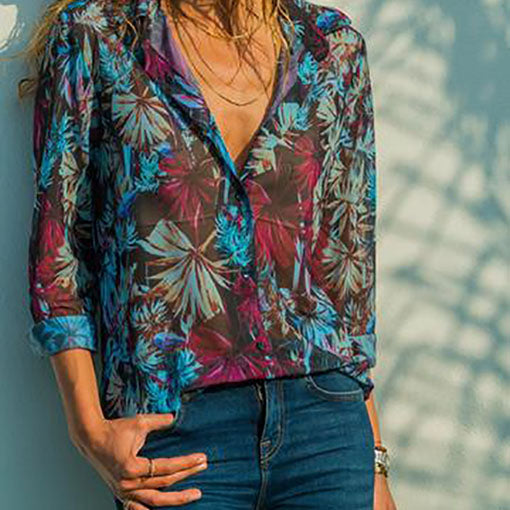 Cotton Blends Polyester V Neck Print Long Sleeves Button Up Blouses