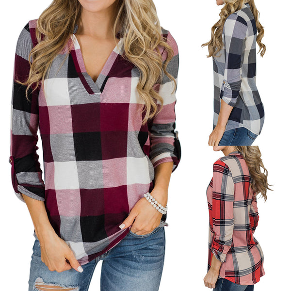 Polyester V Neck Print Long Sleeves Shirt Blouses