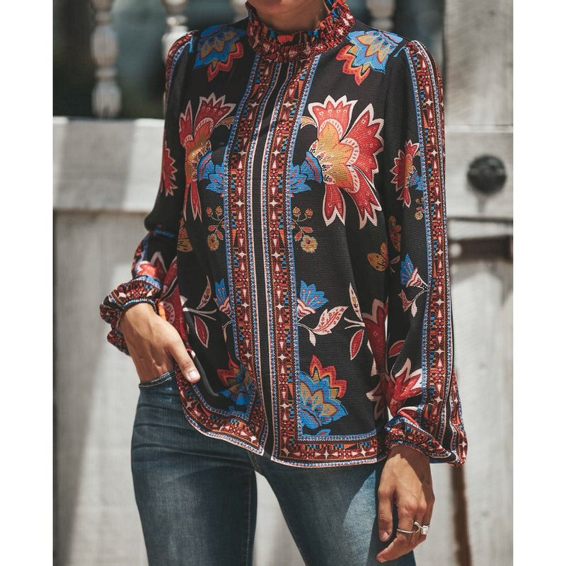 Retro Printed Long-Sleeved Snow Spinning Shirt