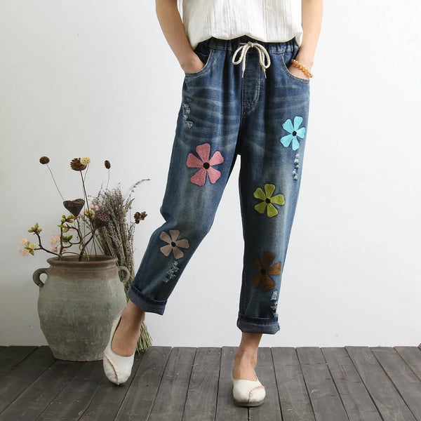 Flowers Embroidery Elastic Waist Vintage Denim Pants