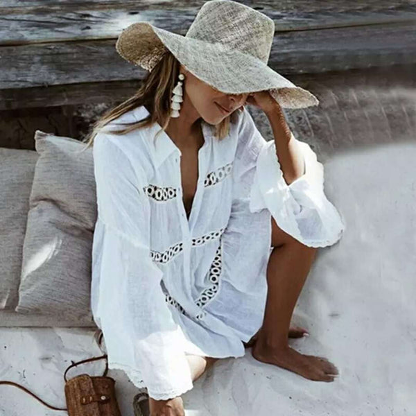 White Vacation Cut Out V Neck Dress