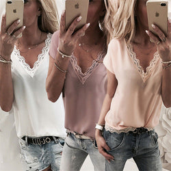 Women Chiffon Solid Color V-neck Shirt