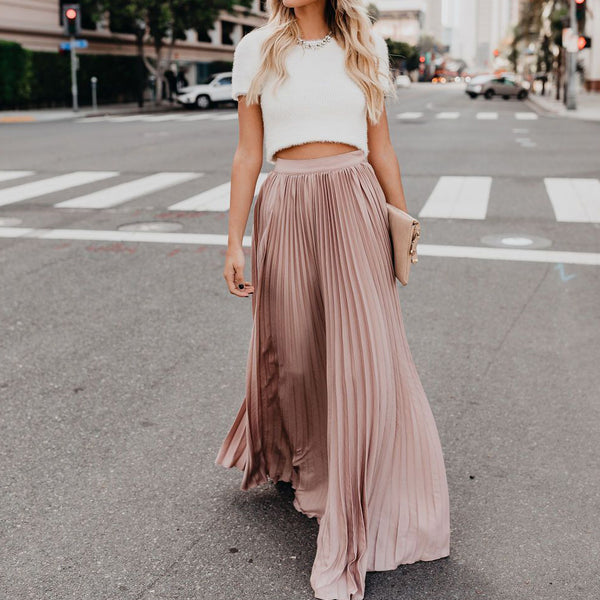 High Waist Pleated Detail Women Maxi Skirt
