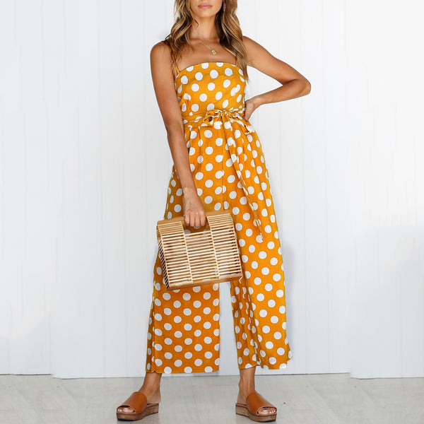 Fashion Polka Dot Printed Belted Jumpsuit