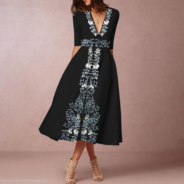 Printed Sleeves Casual stitching long dress