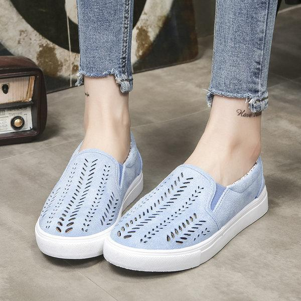 Casual Faux Suede Hollow-out Slip On Loafers