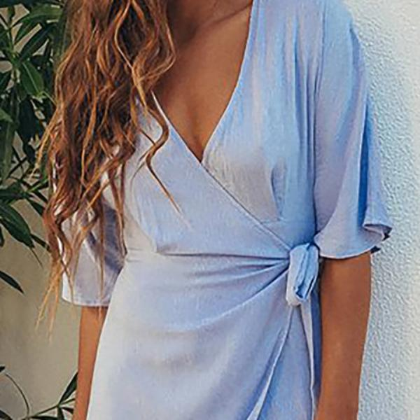 Women Asymmetrical Basic Half Sleeve Wrap Solid Dress