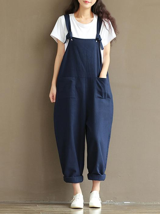Women Casual Linen Loose Jumpsuit