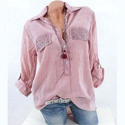 Woman Casual Lace Patchwork Long Sleeve V-neck Blouses