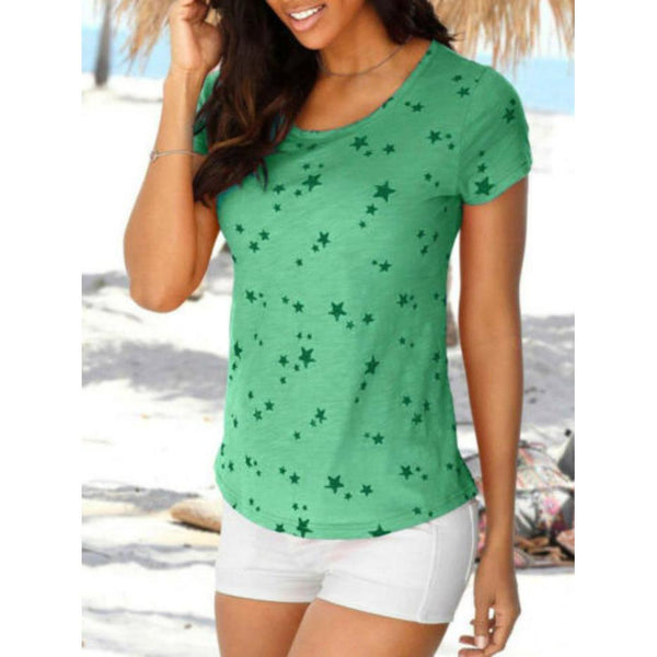 Printed Round Neck Short-Sleeved T-Shirt