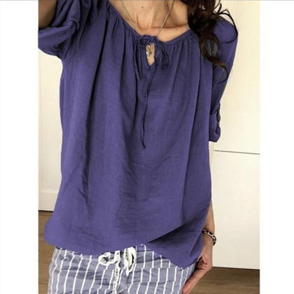 Plain Vintage Long Sleeve Round Neck Lace Up Shirt