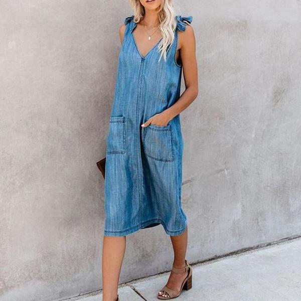 Fashion Solid Color Denim Vest Sling Dress
