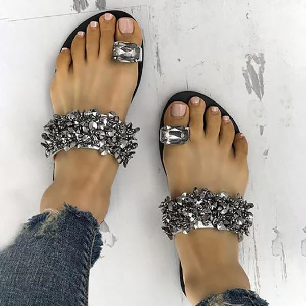 Womens Faux Rhinestone Toe Ring Flat Slipper