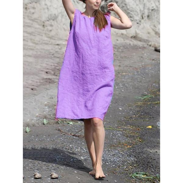 Summer Loose Solid Color Sleeveless Dress