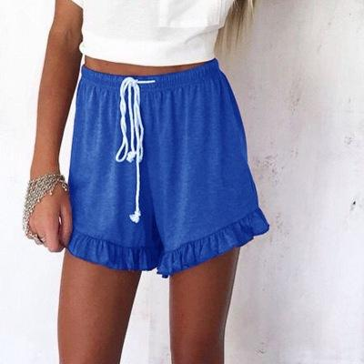 Solid Color Drawstring Ruffle Pants