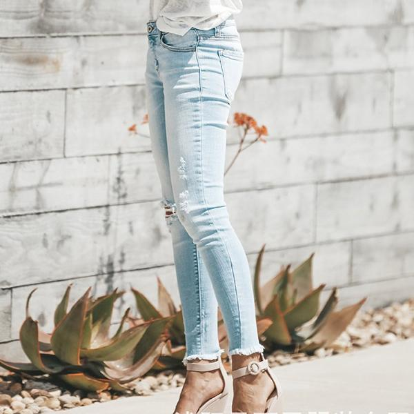 High Waist Ripped Denim Jeans