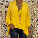 V Neck Long Batwing Sleeve Plain T-Shirts